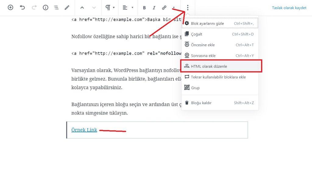 wordpress html olarak düzenleme
